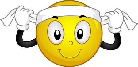 good luck charm: Illustration of a Smiley Putting a Headband on