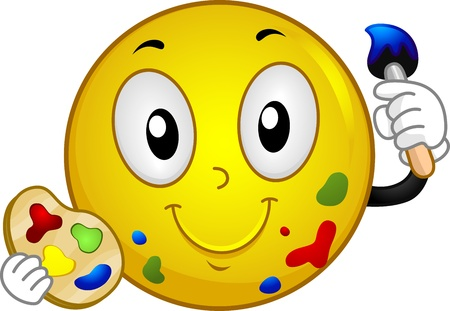 cartoon painter: Illustration of a Smiley Holding a Paintbrush and a Palette Stock Photo
