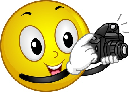 slr camera: Illustration of a Smiley Taking a Photo Stock Photo