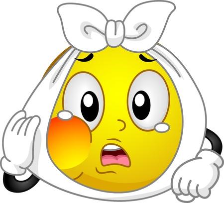 mal di denti: Illustrazione di un Smiley con un dente dolorante