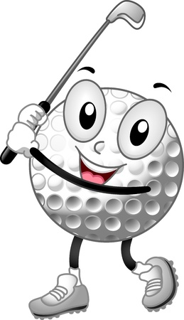 Illustrazione Mascotte di una pallina da golf in mano una mazza da golf