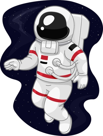 Illustration of an Austronaut Drifting in Space illustration