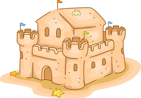Illustration of a Sand Castle by the Beach illustration