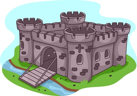 fortress: Illustration of a Fortified Castle Stock Photo