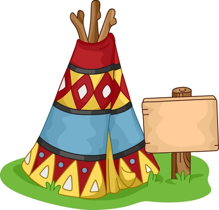 native american art: Illustration of a Colorful Wigwam Stock Photo