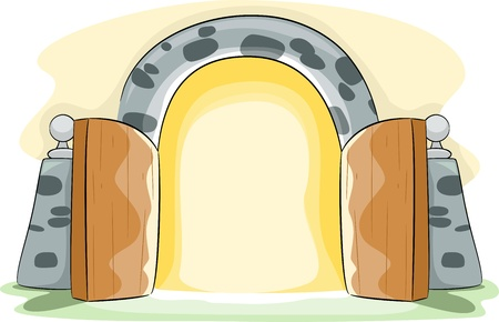 Illustration of a Gate Wide Open Stock Illustration - 13559509