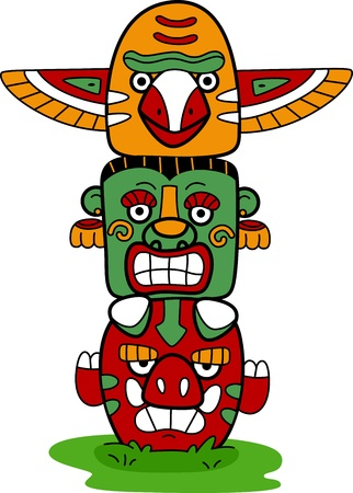 totem indien: Illustration d'un m�t tot�mique Banque d'images