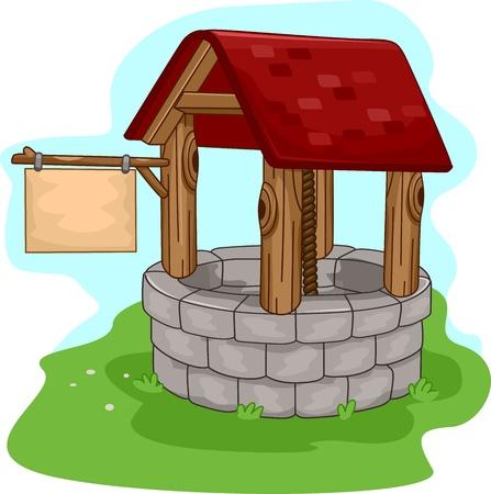 source d eau: Illustration d'un puits