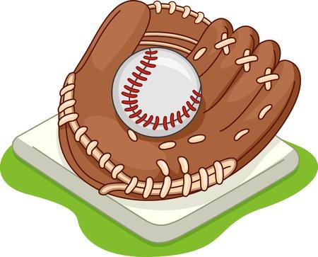 guante de beisbol: Ilustración de un guante de béisbol situado en una base