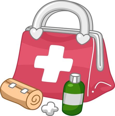 primeros auxilios: Ilustración de un Botiquín de Primeros Auxilios