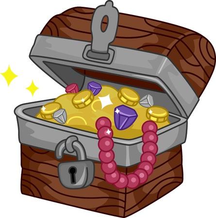 cofre tesoro: Ilustraci�n de un cofre del tesoro lleno de extras