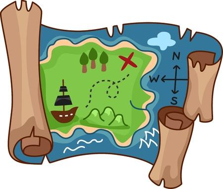 mappa del tesoro: Illustrazione di una mappa del tesoro