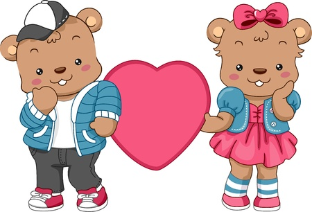 Illustration of a Pair of Teddy Bears Holding a Heart Stock Photo