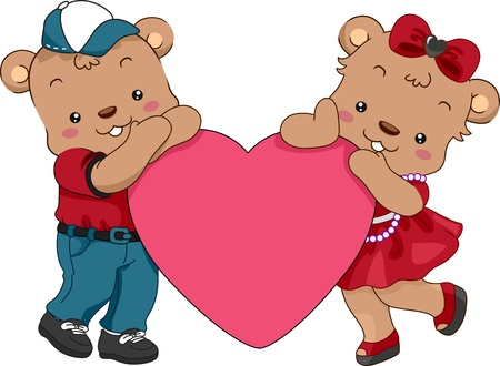Illustration of a Pair of Teddy Bears Holding a Heart Stock Illustration - 13559537
