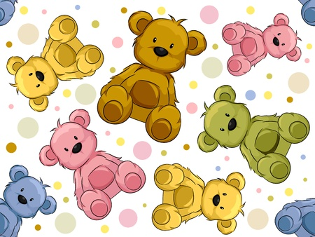 cartoon bear: Seamless Illustration Featuring Teddy Bears