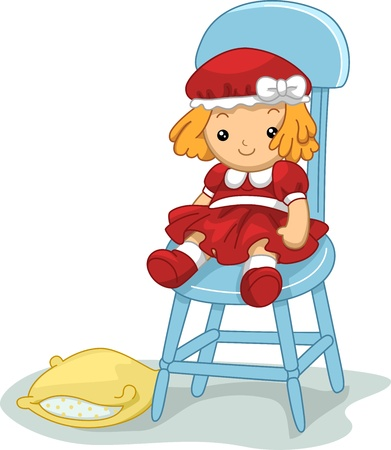 doll: Illustration of a Rag Doll Sitting on a Chair