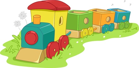playthings: Illustration of a Toy Train