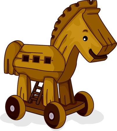 trojan horse: Illustrazione di un Cavallo Giocattolo di legno Archivio Fotografico