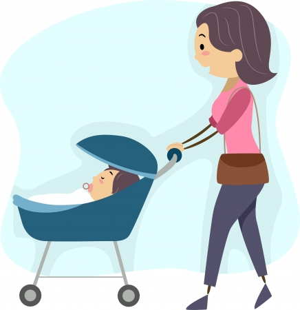 Illustration of a Mother Taking Her Baby for a Walk illustration