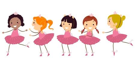 tanzen cartoon: Illustration von M�dchen, die Ballett