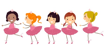 ballet ni�as: Ilustraci�n de las ni�as haciendo ballet