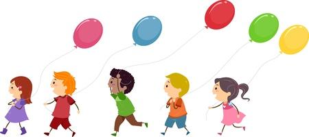 playmates: Ilustraci�n de ni�os Globos de retenci�n Foto de archivo