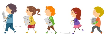 Illustration of Kids Carrying Computer Accessories illustration