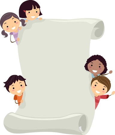 announcement: Illustration of Kids Holding a Large Scroll Stock Photo