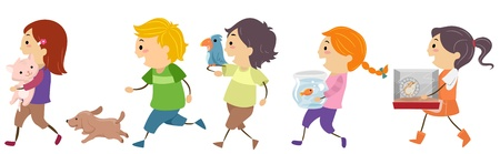 Illustration of Kids Carrying Pets illustration