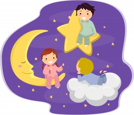 buonanotte: Illustrazione di Kids in the Sky Archivio Fotografico