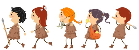 hunters: Illustration of Kids Dressed Like People From the Stone Age Stock Photo