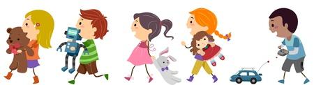 playmates: Ilustración de los niños que transporten Juguetes Foto de archivo