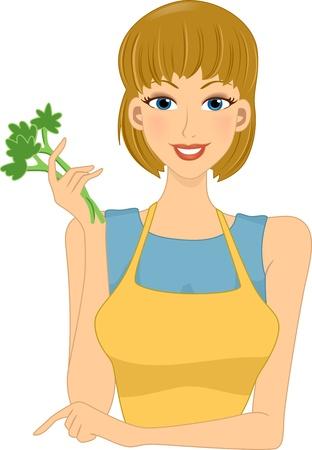 homely: Illustration of a Girl Holding Stalks of Vegetables