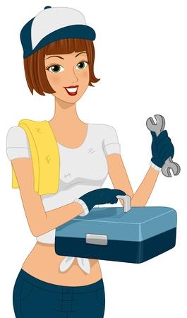 herramientas de mec�nica: Ilustraci�n de una muchacha que sostiene un juego de herramientas