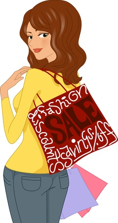 bought: Illustration of Girl Carrying Items She Bought on Sale Stock Photo