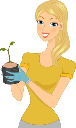 Illustration of a Woman Holding a Seedling illustration