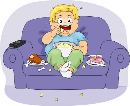 bajo y fornido: Ilustraci�n de un ni�o con sobrepeso