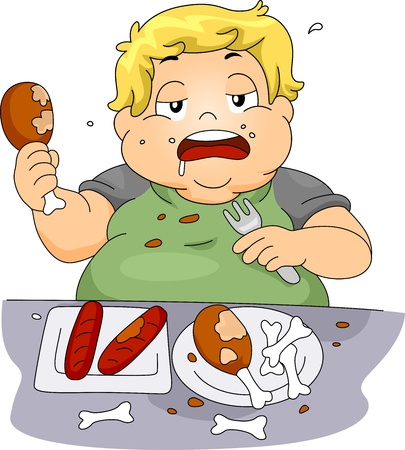 overeating: Illustration of an Overweight Boy Binge Eating Stock Photo