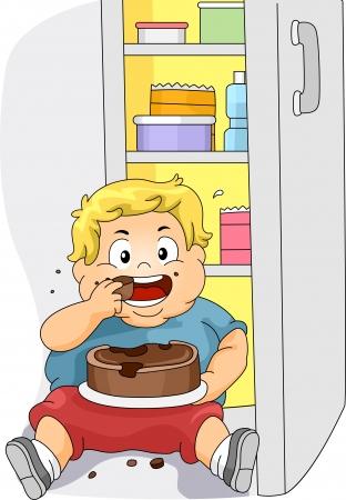 bajo y fornido: Ilustraci�n de un ni�o con sobrepeso comiendo pastel