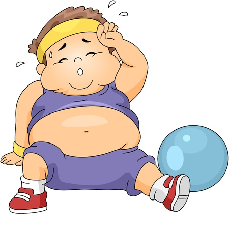 obese person: Illustration of an Overweight Boy Exercising Stock Photo