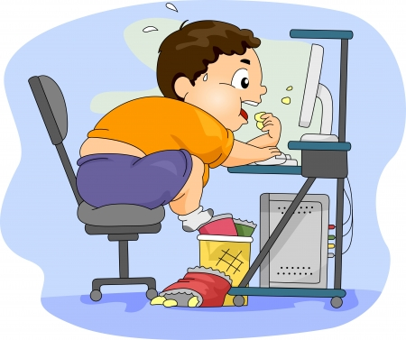 overweight kid: Illustration of an Overweight Boy Eating in Front of His Computer Stock Photo