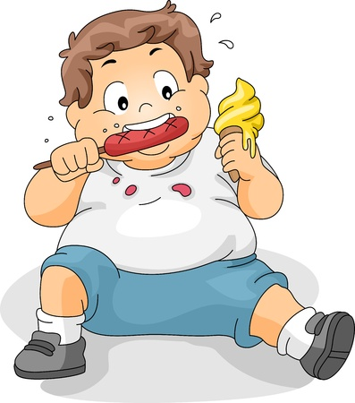 Illustration of an Overweight Boy Eating illustration