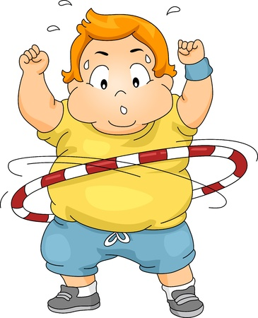 Illustration of an Overweight Boy Using a Hula Hoop illustration