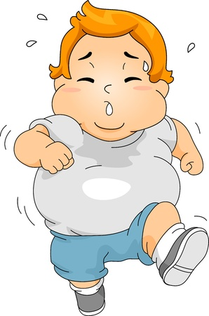 stocky: Illustration of an Overweight Boy Jogging
