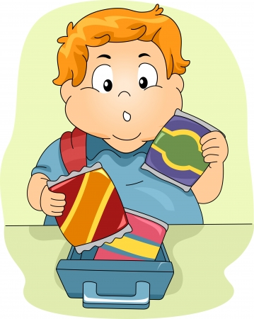 packed: Illustration of an Overweight Boy Deciding on What to Eat