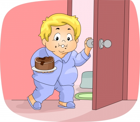 obese person: Illustration of an Overweight Boy Having a Midnight Snack