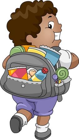 comida chatarra: Ilustraci�n de un ni�o con sobrepeso con una bolsa de aperitivos
