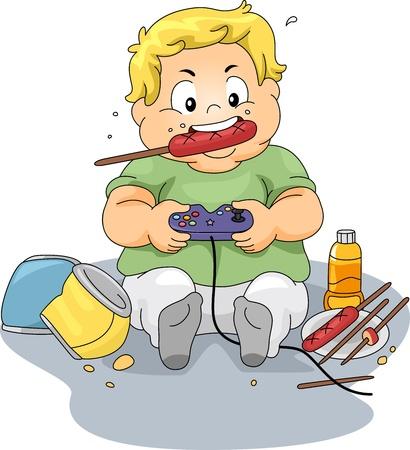 playing video games: Ilustraci�n de un ni�o con sobrepeso en los videojuegos