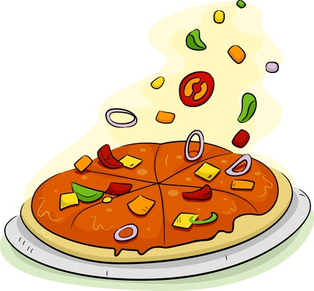 toppings: Illustration of a Pizza Being Filled with Toppings