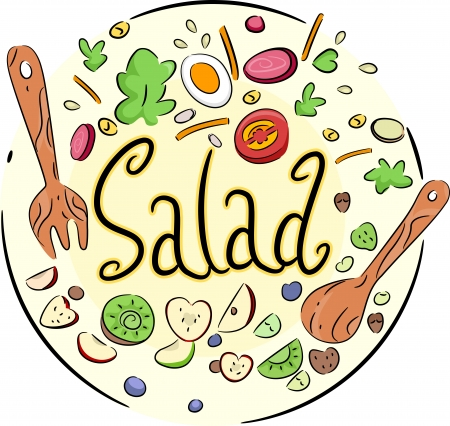 cartoon vegetable: Text Illustration of a Vegetable Salad in a Bowl